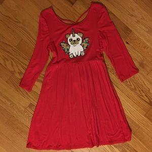 Justice Holiday Unicorn Puppy Dress